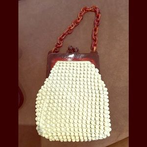 Accessories - Vintage Creme Breaded Bag with Tortoise frame